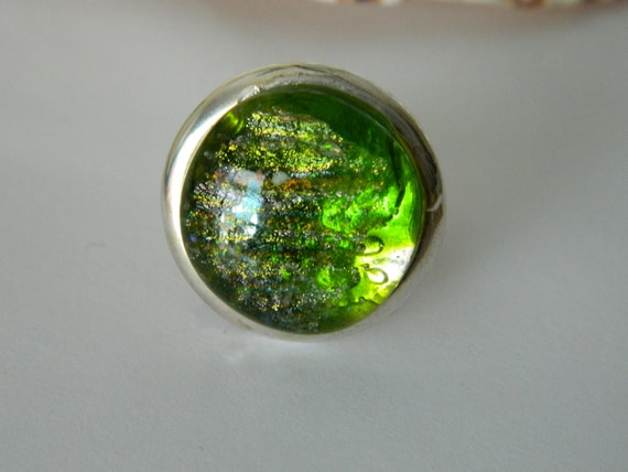 Green and silver dichroic fused glass adjustable cocktail ring