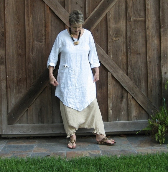 ethnic tunic washed linen in white ready to ship