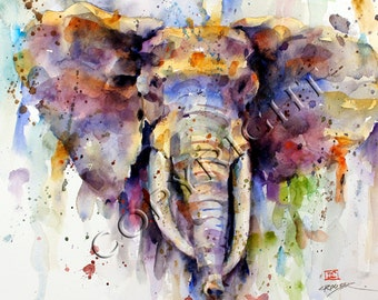 ELEPHANT Extra Large 24 x 36 Watercolor Print By Dean Crouser