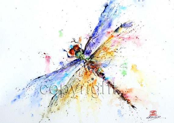 DRAGONFLY Watercolor print by Dean Crouser