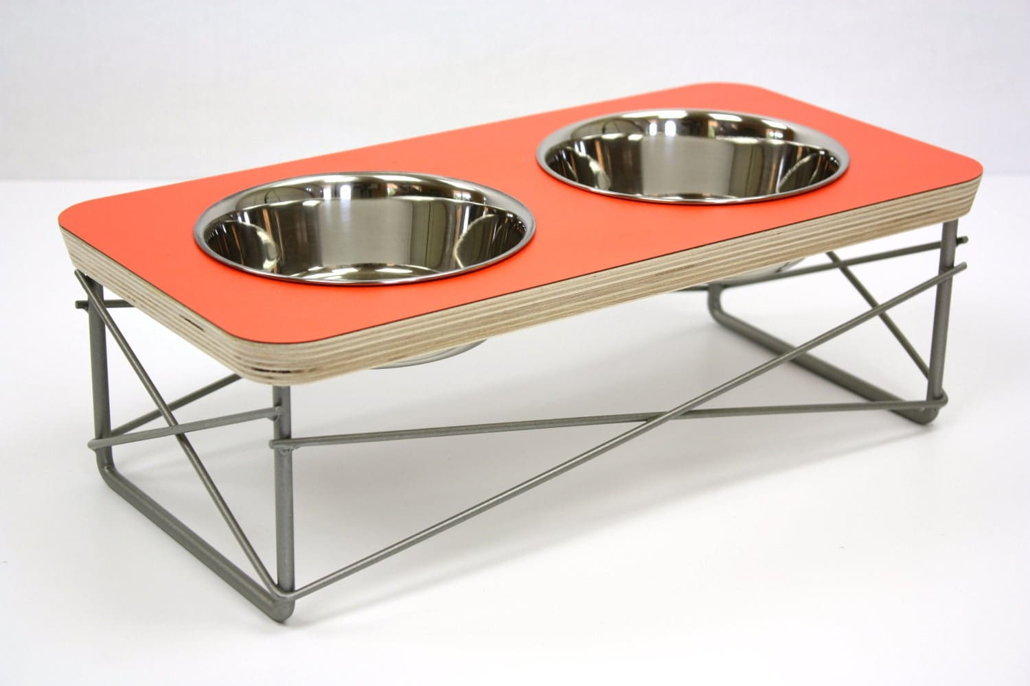 modern pet feeder dog bowl or cat bowl elevated feeder mid - request a custom order and have something made just for you