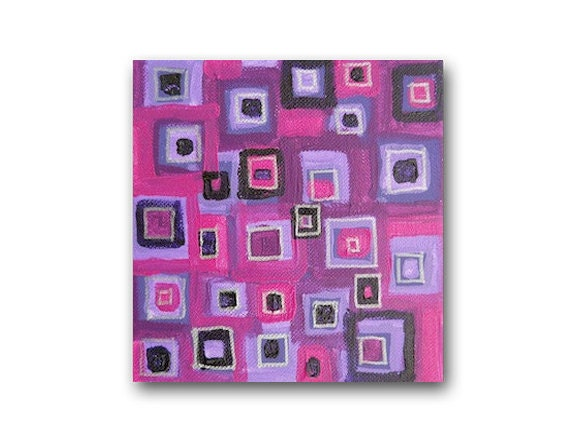 SALE - small abstract painting - modern art - squares - 9x9 box frame - acrylic on box canvas - purple - mod