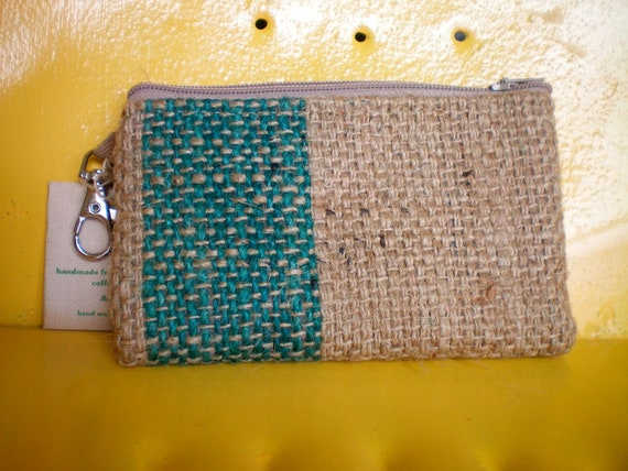 UpCycled Vegan Zipper Pouch Made From Coffee Sacks- Ready to Ship- burlap- coffee bean sack- jute-ipod- iphone pouch