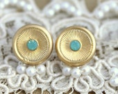 Mint Gold stud round earrings plated real gold with crystal elegant 14k gold matte coated post earrings