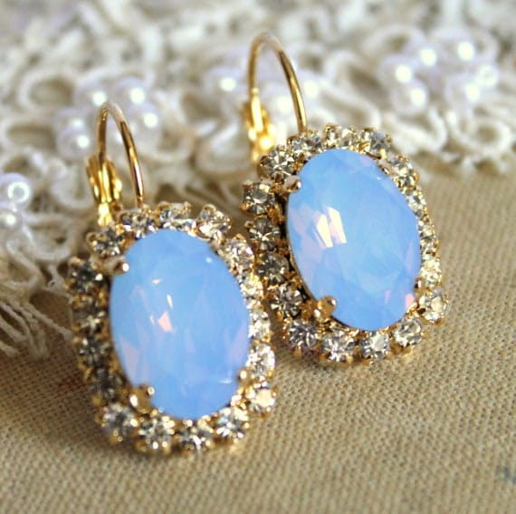 Crystal blue earring - 14k plated gold post earrings real swarovski rhinestones .