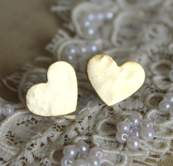 Gold stud heart earrings plated real gold -petit elegant 14k gold matte coated post earrings