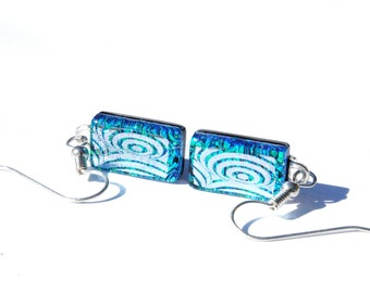 Dichroic Glass Earrings, Dangle, Fused Glass Jewelry, Geometric, Fashion Accessory, Sterling Silver Wires, Blue Green Silver (Item 30459-E)