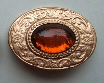 BWB Charming Edwardian Very Old paste Brooch Pin 1920's from DORAN, Providence (1) Amber on high polish frame