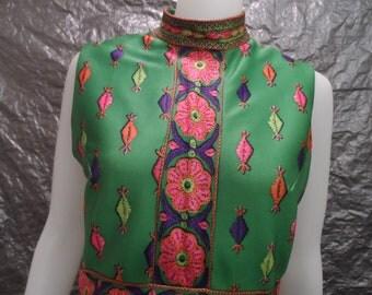 Vintage Bright Green Retro Print 60's Sleeveless Maxi Dress  M