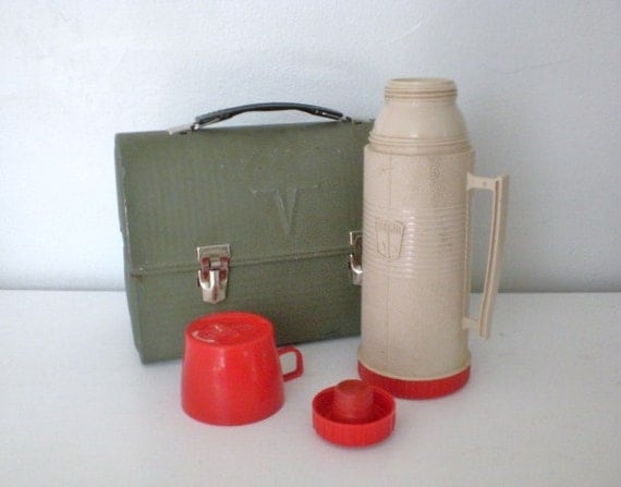 Vintage Thermos Lunch Box Metal Thermos