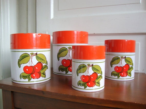Items similar to cute vintage 60s cherry canister set of 4 for Kitchen decor items