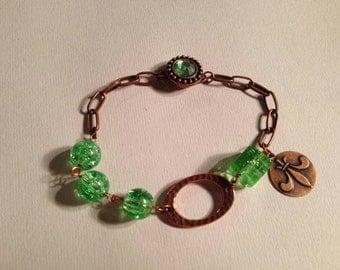 Green Bracelet Box Clasp Fleur de Lys Charm Bracelet Copper Jewelry Chain Jewellery Unique Fashion Gift Handmade Balance
