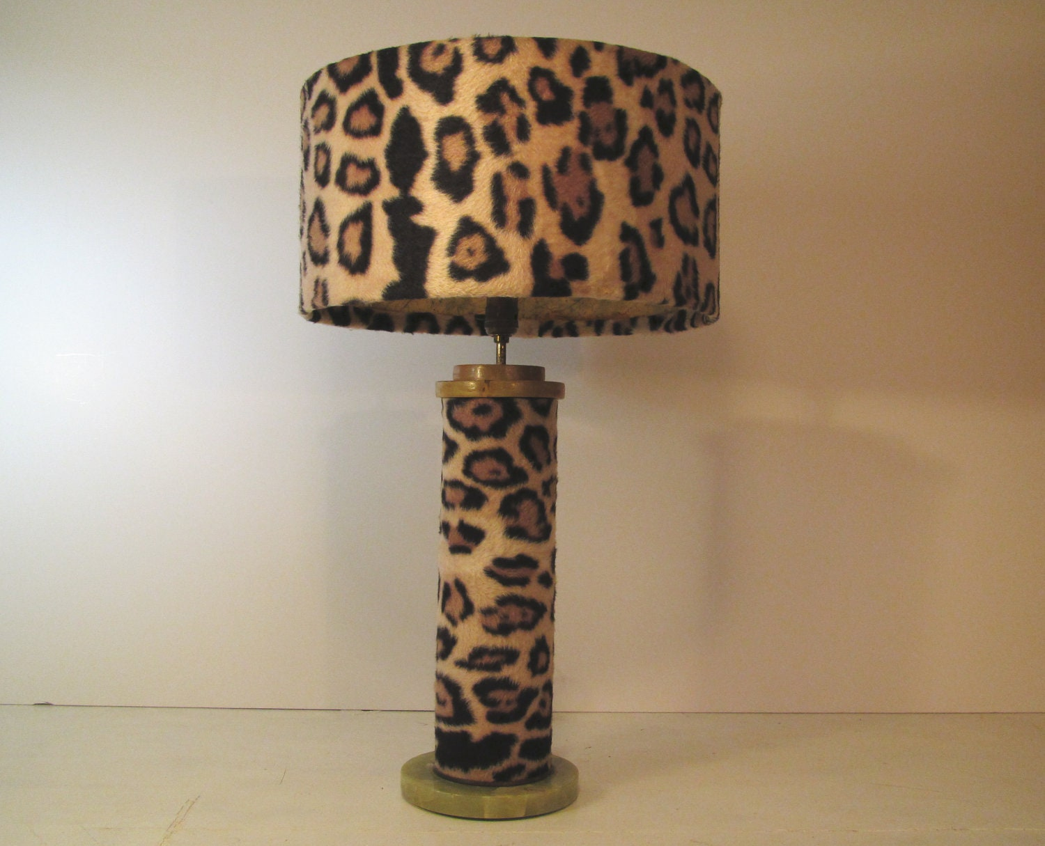 Vintage Table Lamp Animal Print By Margosmuse On Etsy