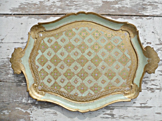 Beautiful Vintage Italian Florentine LargeTray