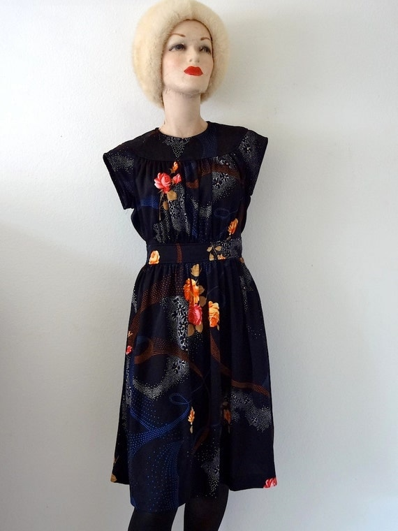 1970s Astral Plane Dress / Vintage Jersey Knit Pinafore with Floral Print