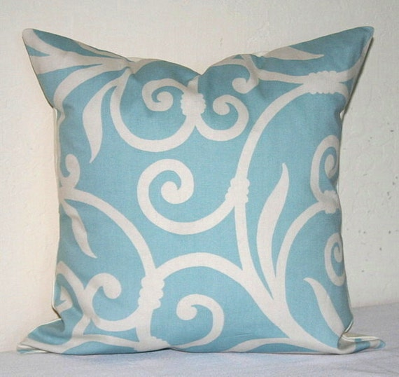 decorative pillow turquoise aqua blue and white swirl by 87871