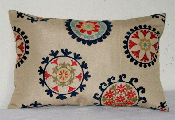 1 Suzani Navy Blue Beige Lumbar Pillow Cover 12x18 by PatsTable