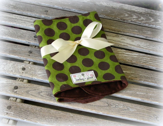 Baby Boy Burp Cloths, Green and Brown Polka Dots with Brown Minky /  Baby Boy Shower Gift
