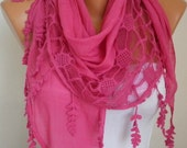 Lace Scarf -  scarf shawl -  -  Free scarf - Hot Pink - fatwoman