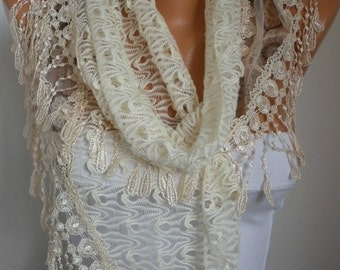 Light Yellow Filet & Lace Scarf,Wedding Shawl Bridesmaid Gift Gift Ideas For Her Women's Fashion Accessories