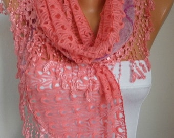 Coral Filet & Lace Scarf,Wedding Shawl Bridesmaid Gift Gift Ideas For Her Women's Fashion Accessories