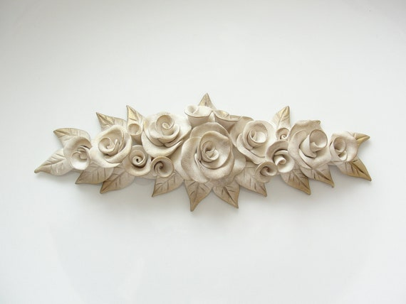 Shabby chic cream and antique gold rose furniture applique onlay ooak handmade from polymer clay