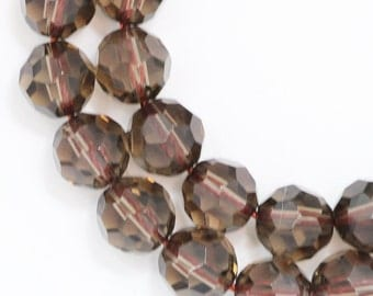 Smoky Quartz Beads - 8mm Faceted Round