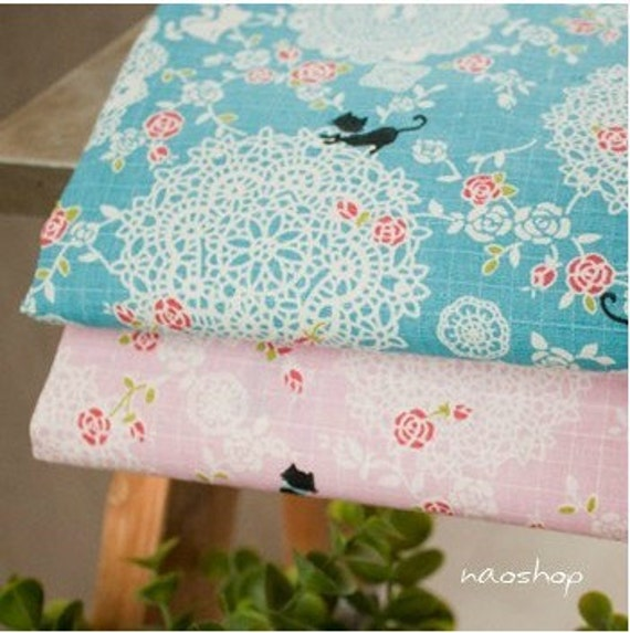 Cotton Linen Fabric Cloth -DIY Cloth Art Manual Cloth -Rose Lace Cat 55 x19 Inches