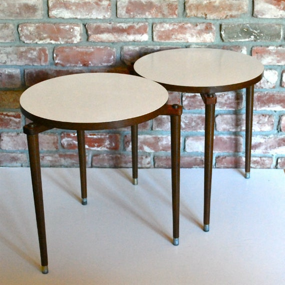 Vintage Side Tables Two Mid Century Modern Round