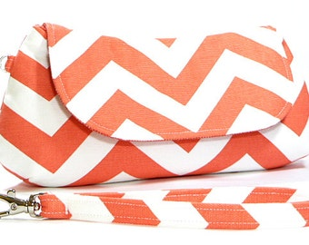 Clutch Purse - Coral White Chevron Clutch Purse, Fold Over Clutch, Gifts for Her