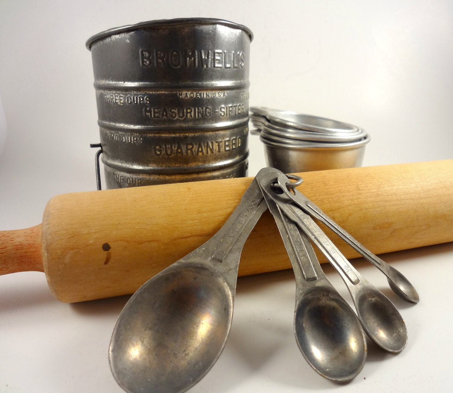 Vintage Baking Kitchen Utensils Rolling Pin Sifter