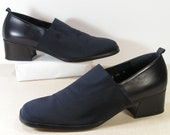 donald pliner clogs womens 10 b m shoes navy blue elastic foot leather box tote bag
