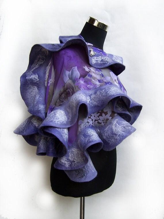 Violet wool nuno felted ruffle shawl / scarf