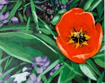 Red Tulip  - Original Acrylic Painting