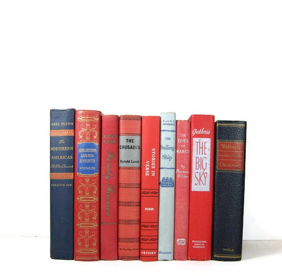 Blue Red Decorative Books, Vintage Photo Props, Vintage Wedding Decor