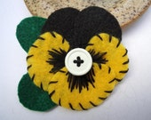 Black and Yellow Flower Pin, Felt Pansy Pin - School colors, Sports Team Colors, College Colors