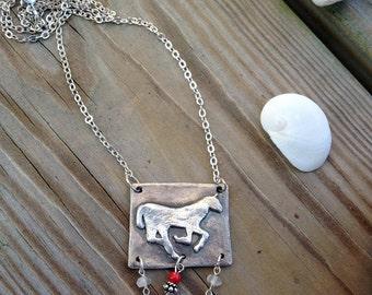 FIne Silver Horse Pendant with Quartz & Coral Beads