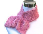 Knitted bow scarf retro 50s style scarflette pink fluffy neck warmer in sparkly lurex