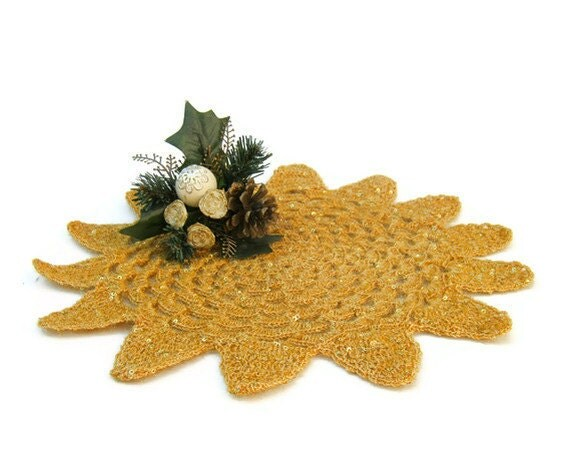 Table centerpiece gold crochet doily christmas by jarg n