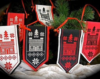 Red, Black and White Cross-Stitched Log Cabin Mini-Banners