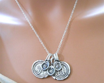 "Wax Seal Jewelry Personalized Silver Initial Necklace .  ""Family Necklace""  . INCLUDES 5 Initials"
