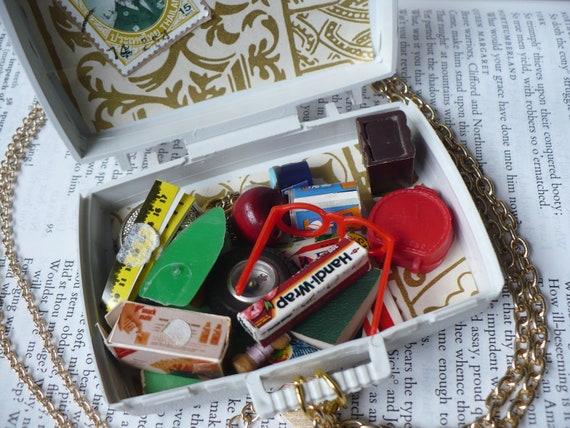 The Suit case of travel - Mini things - vinatge - white - gold - lovely - cute - cracker jack toys - gum ball machine toys