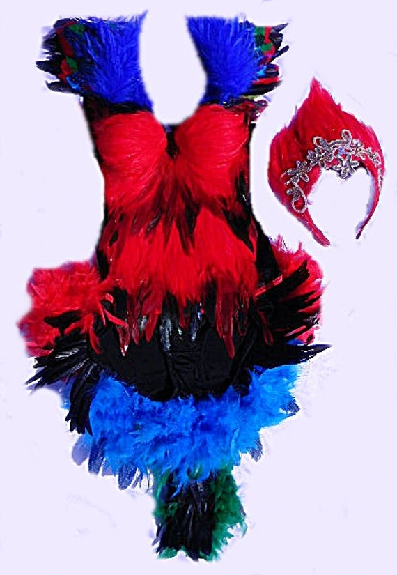 Sexy Scarlet Macaw  Costume Corset/Booty Shorts Fantail/HEADDRESS CUSTOM Made 4U