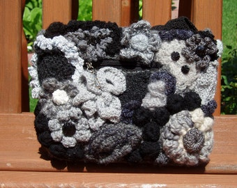 Elegant Freeform Knit and Crocheted Purse Black, White, Grey Evening Bag Vintage Buttons, Wool OOAK
