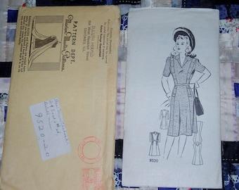 1940s Misses' Dress Pattern, Marian Martin 9520 Uncut Factory Folds Size 20