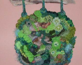 "Freeform Knit Crochet Wall Hanging, An Afternoon on Oberg Mountain, Driftwood OOAK 19"" x 24"""