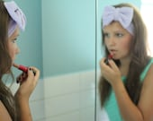 Beauty Routine Bow Head Wrap in Lavender Terry Cloth