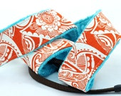Padded Camera Strap dSLR w/ Minky - Orange and Teal - TheSweetStrap