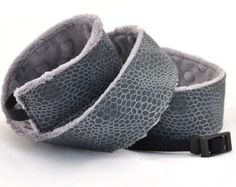 Snakeskin Camera dSLR Strap - Snakeskin with Grey Minky - Padded Camera Strap