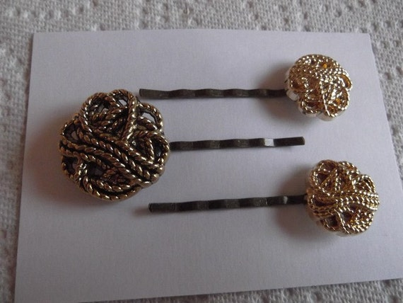 Bobby Pins Vintage Look Gold Craft Buttons Handmade